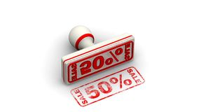 Percentuale di vendita 50 Il bollo lascia un'impronta illustrazione di stock