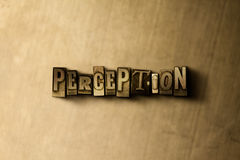 PERCEPTION - close-up of grungy vintage typeset word on metal backdrop Royalty Free Stock Photography