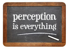 Perception is everything -  blackboard sign. Perception is everything - white chalk text on a vintage slate blackboard isolated on white Stock Images