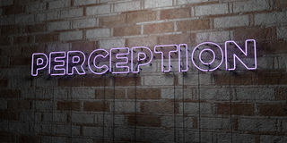 PERCEPTION - Glowing Neon Sign on stonework wall - 3D rendered royalty free stock illustration Stock Photography
