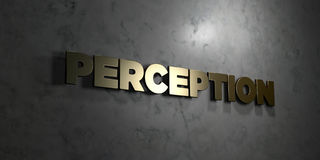 Perception - Gold text on black background - 3D rendered royalty free stock picture Stock Image