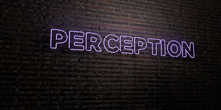 PERCEPTION -Realistic Neon Sign on Brick Wall background - 3D rendered royalty free stock image Royalty Free Stock Image