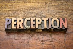 Perception word in letterpress wood type. Perception word in vintage letterpress wood type blocks stock photography