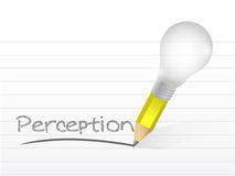 Perception written with a light bulb idea pencil. Illustration design over notepad paper Stock Photography