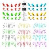 Percevejos e pastas coloridos dos clipes, elementos da livraria A ilustração royalty free