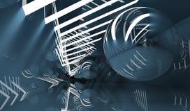 Percez un tunnel avec la boule de miroir de vol, 3d rendent illustration stock
