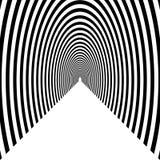 Percez un tunnel, voûte semi-circulaire partant dans la distance, noir et W illustration stock