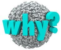 Perché ragione di meraviglia della sfera di simboli del punto interrogativo di parola 3d Immagini Stock