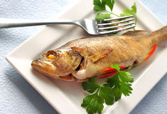 Perch baked in foil Stock Photo