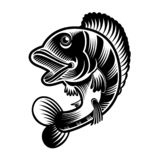 Perch or bass fish silhouette in engrving style. Logo for fishing stock illustration