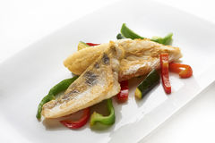 Perch fillet. With grilled vegetable stock photo
