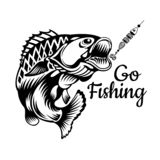Perch fish bend in engrving style. Logo for fishing, championship and sport club on white vector illustration