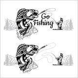 Perch fish bend with fisher and landscape in engrving style. Logo for fishing, championship and sport club on white royalty free illustration