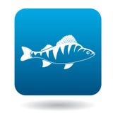 Perch fish icon, simple style. Perch fish icon in simple style in blue square. Animals symbol Stock Photo