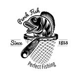 Perch head up from landing net in engraving style. Logo for fishing or fishing shop isolated on white.  royalty free illustration
