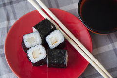 Perch maki with soy sauce Stock Images