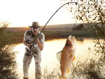 Perch. Man fishing Stock Photos