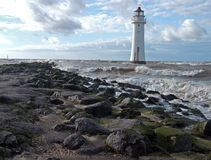 Perch rock lighthouse. Lighthouse at new brighton at the mouth of the river mersey into liverpool uk Royalty Free Stock Image