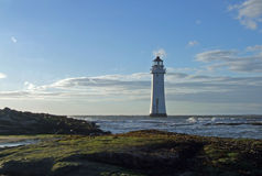 Perch rock lighthouse. Lighthouse at new brighton at the mouth of the river mersey into liverpool uk Stock Photo