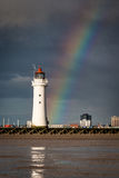 Perch Rock Lighthouse with a rainbow Stock Images