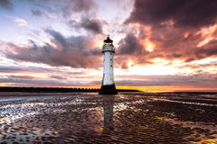 Perch Rock Lighthouse at sunset Stock Images