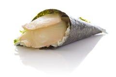 Perch sushi temaki isolated. On white background white bakground Royalty Free Stock Image