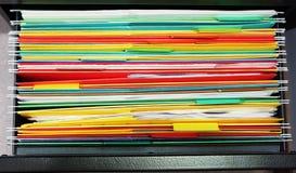 Perchas de la carpeta de fichero Fotografía de archivo libre de regalías