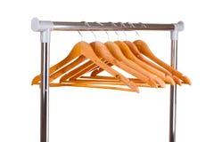 Perchas de ropa de madera Imagen de archivo libre de regalías