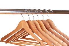 Perchas de ropa de madera Foto de archivo libre de regalías