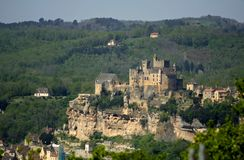 Perched old castle in france Royalty Free Stock Photography