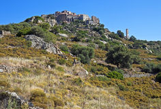Perched village of SantAntonino, Corsica. Medieval perched village of SantAntonino above the dry hills, Corsica, France Royalty Free Stock Images