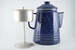 Percolator. Blue granite coffee pot percolator Stock Images