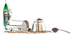 Percolator and coffee beans Stock Photography