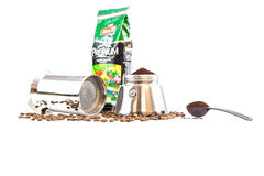 Percolator and coffee beans Royalty Free Stock Photography