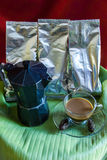 Percolator  and coffee with cicada Royalty Free Stock Images