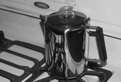 Percolator Coffee Pot Black and White Stock Photography