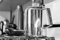 Percolator Coffee Pot and Thermos In Black and White Royalty Free Stock Photo