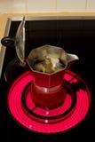 Percolator. On cooking machine preparing coffee Royalty Free Stock Photo