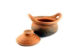 Percolator pot made of earthen. The Percolator pot made of earthen on white background Royalty Free Stock Photos
