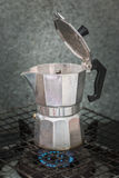 Percolator steaming. Percolator steaming in the morning Royalty Free Stock Photos