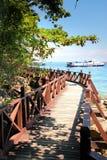 Percorso ambulante di legno alla spiaggia Fotografie Stock Libere da Diritti