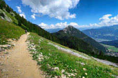 Percorso attraverso il paesaggio in alpi austriache, Tirolo della montagna di estate, vicino a Achensee Fotografia Stock