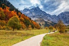 Percorso attraverso il paesaggio nelle alpi, Engalm, Austria, Tirolo della montagna di autunno Immagini Stock Libere da Diritti