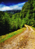 Percorso attraverso le montagne alle nuvole Immagini Stock Libere da Diritti