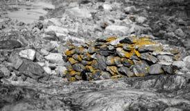 Percorso in bianco e nero della roccia con l'accento arancio immagini stock libere da diritti