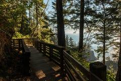 Percorso con l'inferriata di legno che dà l'accesso ad un'area della costa del sud dell'Oregon, U.S.A. fotografia stock libera da diritti