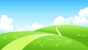 Percorso curvo sopra il paesaggio verde illustrazione di stock