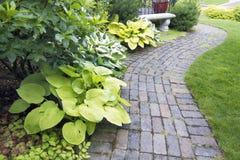 Percorso del lastricatore del giardino con le piante e l'erba fotografia stock