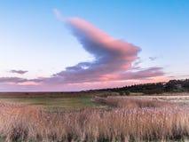 Percorso del nord della costa della Norfolk al tramonto Fotografia Stock