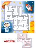 Percorso del ritrovamento del cosmonauta di aiuto da saettare in alto labirinto Gioco del labirinto per i bambini illustrazione vettoriale